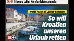 """Hrvatska je """"Corona free"""", tvrdi u udarnoj vijesti Bild, najnakladnija njemačka medijska platforma čiji je glavni urednik pred koji dan razapeo Kinu na križ"""